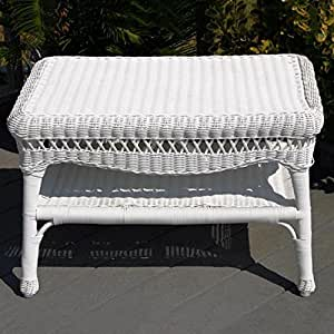 Amazon Com Sahara All Weather Wicker Coffee Table White