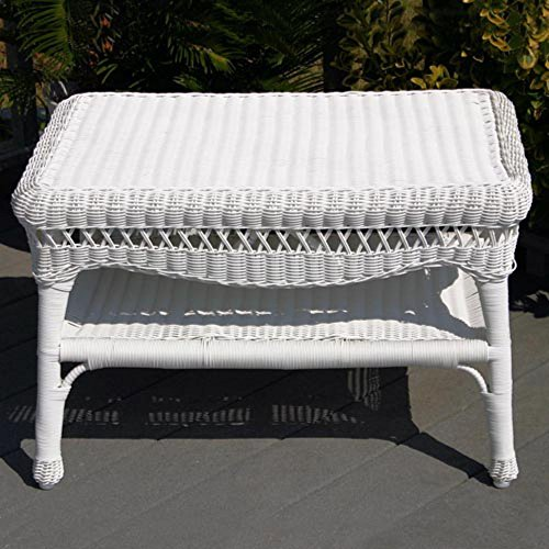 Sahara all weather wicker coffee table white White wicker coffee table