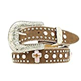 Nocona Girl's Interchangeable Buckle Cross Conchos Belt, Medium Brown Distressed, 26