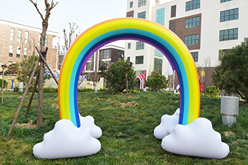 CASOFU Inflatable Rainbow Arch Sprinkler Outdoor Ginormous Rainbow Cloud Yard Sprinkler for Children, Kids Summer Vacation Swimming Party Beach Pool Play