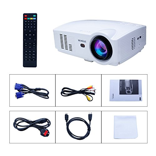 "51qEt1y7FrL - Projector, WiMiUS T4 3500 Lumens 5.8 Inch LCD Projector Support 200"" Display Full HD 1080P 50,000 hours LED Video Projector, Compatible with Amazon Fire TV Stick, HDMI, VGA, USB for Home Theater-White"