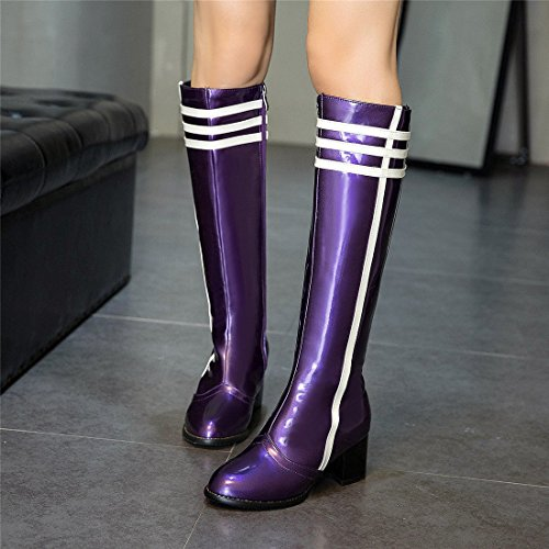 Sandalette Altas Altos Mujer de Botas Tubo DEDE purple Altos Botas Botas Moda Tacones de Colores de Botas Altas rHrqwx16