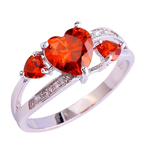 Created Garnet Stainless Steel Ring - lingmei 8mm8mm Heart Cut Cz Created Garnet Red & White Stones Women's Ring US Size 10