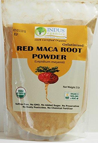 Indus Organics Red Maca Powder, 2 Lb Bag, Gelatanized, Pre-Washed, Premium Quality, Non-gmo, Freshly Packed