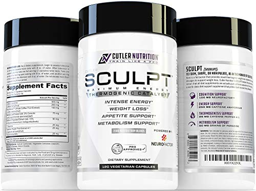 SCULPT Fat Burner Diet Pills: Best Weight Loss Energy Pills and Maximum Strength Thermogenic Metabolism Booster for Fast Weight Loss with Acetyl L Carnitine and Grains of Paradise, 120 Veggie Capsules by Cutler Nutrition (Image #6)