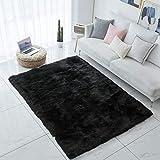 Carvapet Shaggy Soft Faux Sheepskin Fur Area Rugs Floor Mat Luxury Bedside Carpet for Bedroom Living Room, 5ft x 7ft,Black