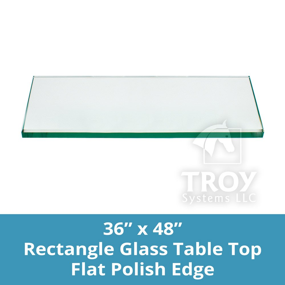 Rectangle Glass Table Top Custom Annealed Clear Tempered Thick Glass With Flat Polished Edge & Eased Corner For Dining Table, Coffee Table, Home & Office Use - 36'' L x 48'' W by TroySys