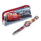 Disney Cars 3 Lightning McQueen LCD Wrist Watch & Pencil Case Set - Blue / Red