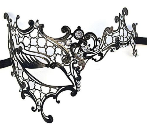 Rhinestone Phantom Laser Cut Metal Venetian Masquerade Mask Women Party Ball