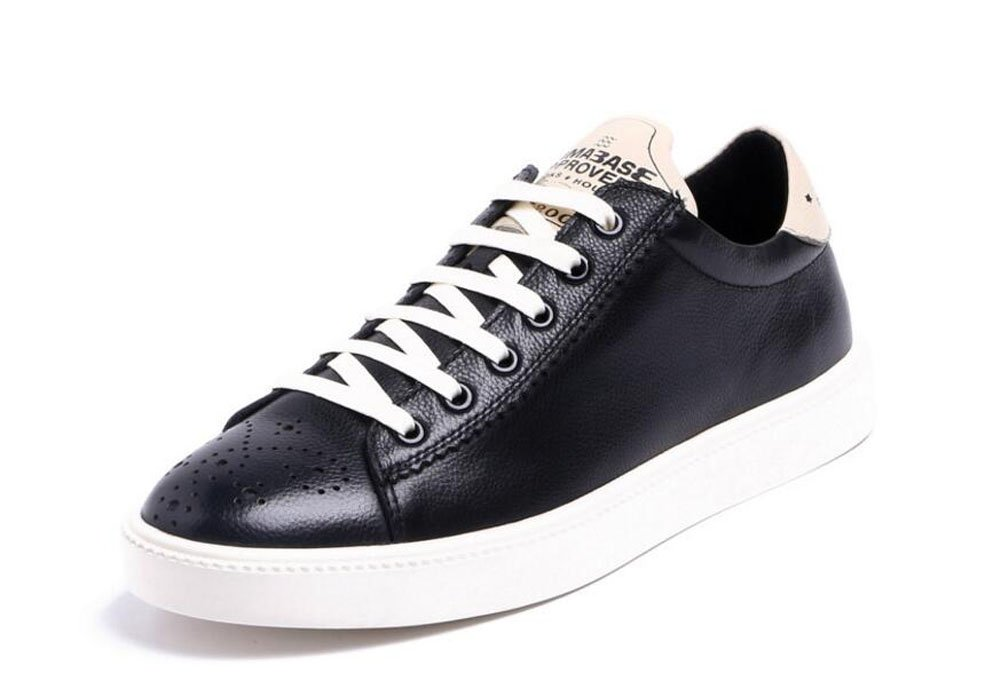 Men Oxfords Lace-Up Flats Shoes Sports Shoes Leather Trend Leather Summer Breathable Men's Shoes ( Color : Black , Size : 44 )