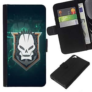 A-type (Enfriar cráneo Goth equipo) Colorida Impresión Funda Cuero Monedero Caja Bolsa Cubierta Caja Piel Card Slots Para HTC Desire 820