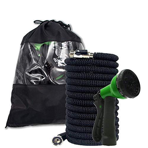 My Garden Provisions Expandable Garden Hose  :Updated 2019 Design, Flexible, No Kink Expanding Hose with Brass Connector, Lightweight and Portable – Water Nozzle Included