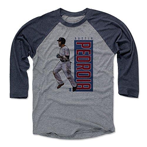 500 LEVEL Dustin Pedroia Baseball Tee Shirt Large Navy/Heather Gray - Boston Baseball Raglan Shirt - Dustin Pedroia Outline -