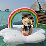 GDAE10 Inflatable Rainbow Cloud Pool Float,Giant Swimming Pool Party Inflatable Lounge Raft Best Birthday Present-Summer Gift For Adults & Kids-Rainbow(Fully inflated 83x55x53 Inch)