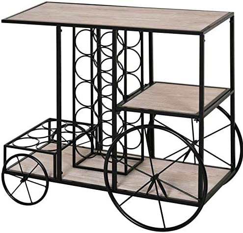 HOMCOM 16-Bottle Mobile Bar Cart