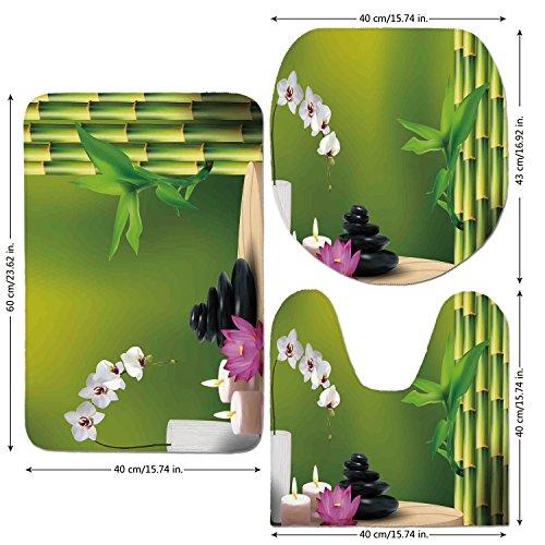 3 Piece Bathroom Mat Set,Spa Decor,Bamboo Flower Stone Wax on the Table Orchid Rock Healthy Lifestyle,,Bath Mat,Bathroom Carpet Rug,Non-Slip (Wax Floor Slip)