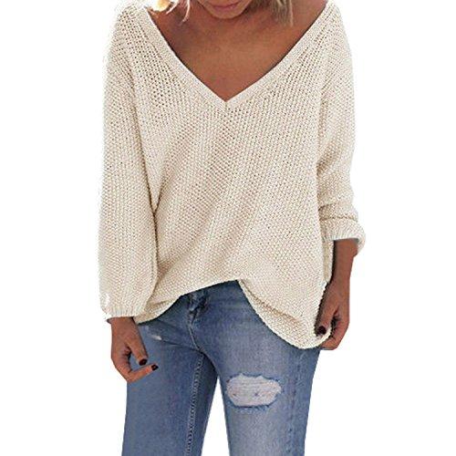 SUNNOW Damen Herbst Winter Pullover Einfarbig Basic V-Ausschnitt Locker Mode Strickjacke Langarm (M, Aprikose)