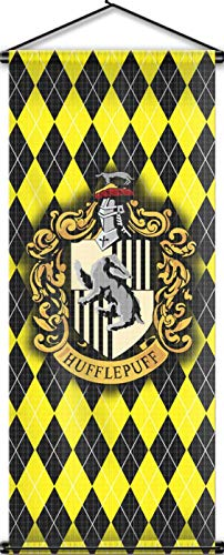 Nordic Souvenirs Harry Potter Style Banner - Hufflepuff Flag 43in x 18in Wall Scroll - Ready to Hang - Perfect Barware Man Cave Gift - Unique HP Collectible Accessories -