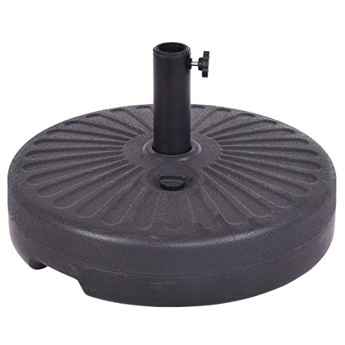 Giantex 20'' Round 23L Water Filled Umbrella Base Stand Self-Filled Patio Furniture, Black by Giantex