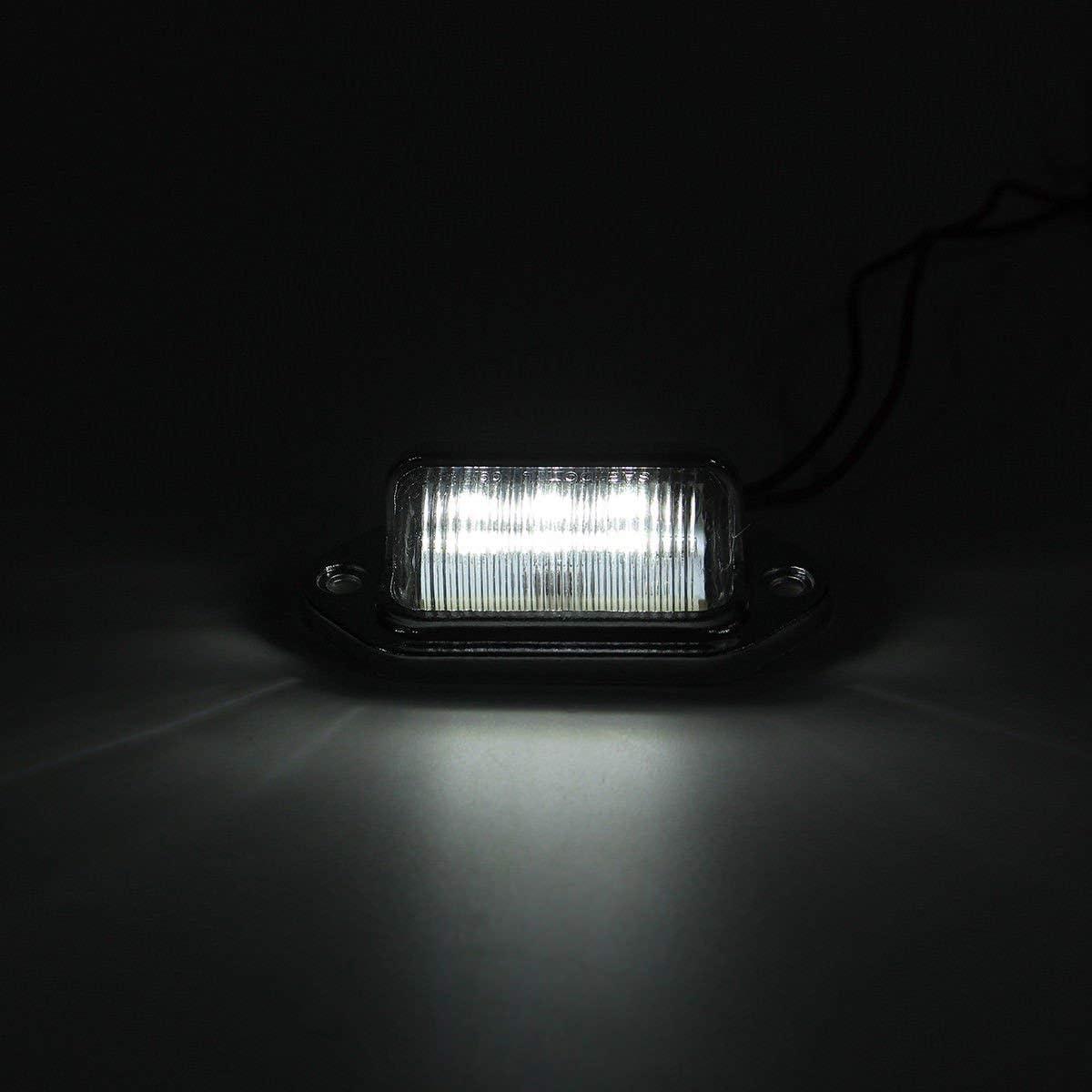 Beauneo 2Pcs 6-Leds Number License Plate Tag Light 12V For Trailers Trucks Lorries Caravans Boat Rv Interior Step Lamp
