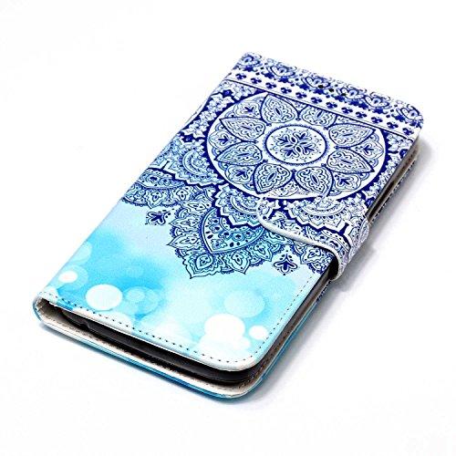 cheap JuSha for Motorola Moto C Case PU Leather Wallet Magnetic Cover Skin ( Blue Totem Flower )