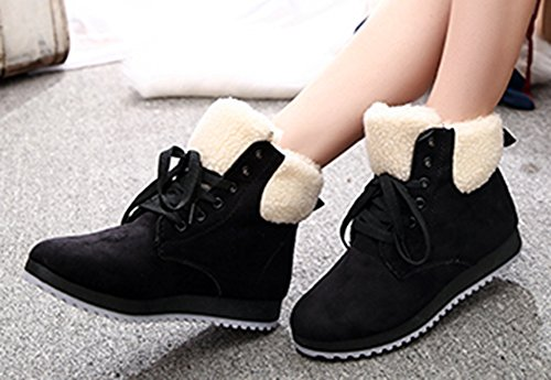 Aisun Womens Classic Warm Comfy Thicken Flat Ankle Snow Boots Black CF2fo