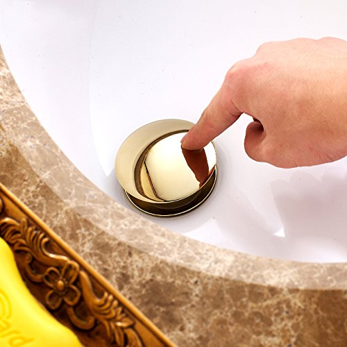 new FLG Gold Bathroom Pop-up Drain With Overflow for Vessel Sinks