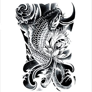 97538a5e5f56f LC2814 21*15cm 3D Large Big Tatoo Sticker Sketch Black Golden Fish Drawing  Designs Cool Temporary Tattoo Stickers: Amazon.ca: Sports & Outdoors