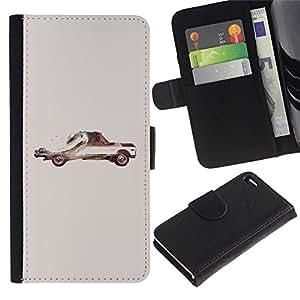 Be Good Phone Accessory // Caso del tirón Billetera de Cuero Titular de la tarjeta Carcasa Funda de Protección para Apple Iphone 4 / 4S // Car American Art Painting