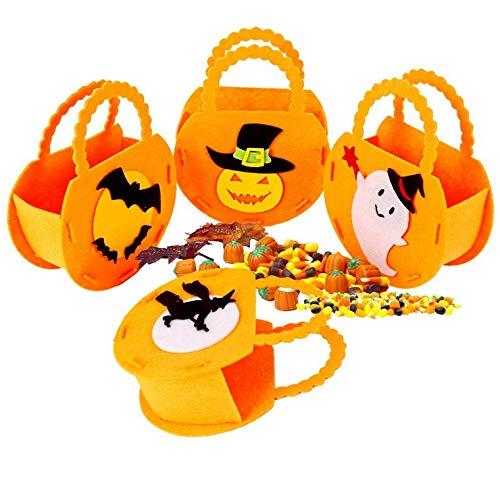 Connie518 Halloween Trick or Treat Bags DIY Pumpkin Bags for Kids 4pcs ()