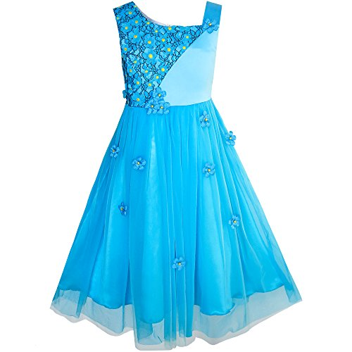 Sunny Fashion KF62 Flower Girls Dress Dimensional Flower Wedding Party Pageant Size 6 Blue