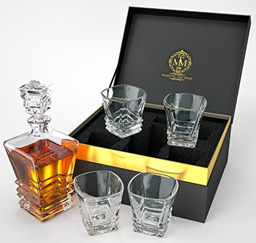 Art Deco Whiskey Decanter Set With 4 Glasses In Gift Box. Lead-Free Crystal Liquor Decanter For Whiskey, Scotch Or Bourbon By Maketh The Man.
