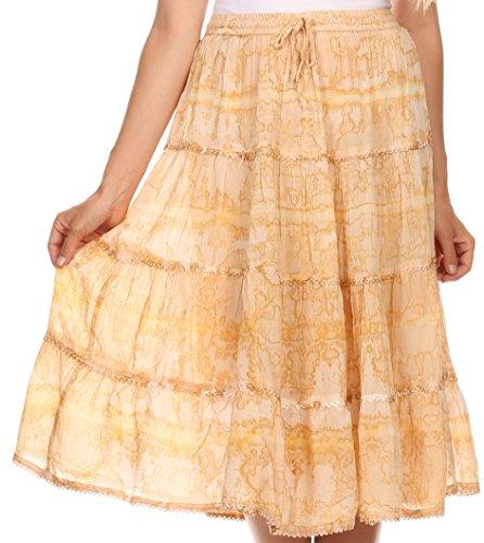 Sakkas 15451 - Faith Lace Trim Tie Dye Adjustable Waist Mid Length Cotton Skirt - Sandy Beige - OS