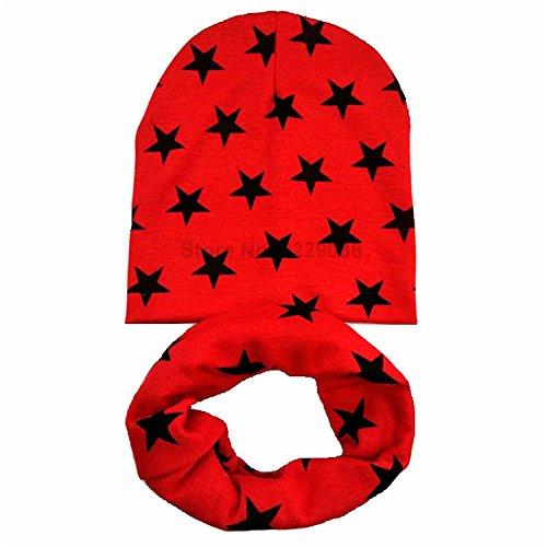 Gome-z Autumn Winter Crochet Children Hats Girl Boy Cap Baby Beanies Caps Toddlers Kids Hat Scarf Collars,gorros infantiles invierno Red star set