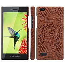 BlackBerry Leap Case, HL Brothers [Ultra Slim] Premium Crocodile Pattern Lightweight Leather Phone Protective Case Cover for BlackBerry Leap Smartphone (Crocodile Cover Brown)