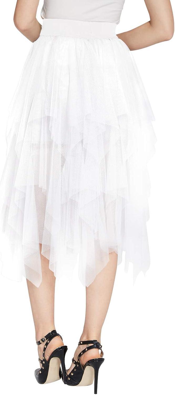 Womens Elegant Mesh Layered Tulle Skirt Sheer Tutu Skirt Midi Dress