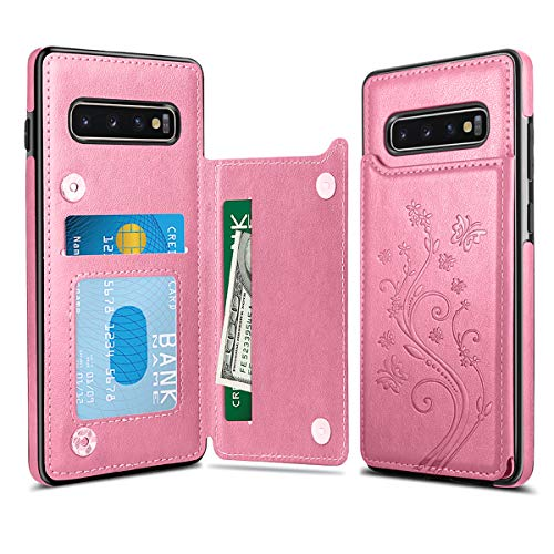 HianDier Wallet Case for Galaxy S10 Plus Slim Protective Case with Credit Card Slot Holder for Women Flip Folio Soft PU Leather Magnetic Closure Cover Case for Samsung Galaxy S10 Plus 6.4 Inches, Pink