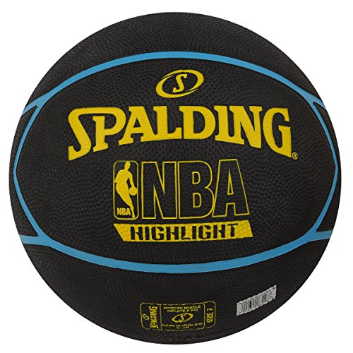 Spalding 83198Z Rubber Fast Highlight Basketball, Size 7  Black/Yellow/Blue