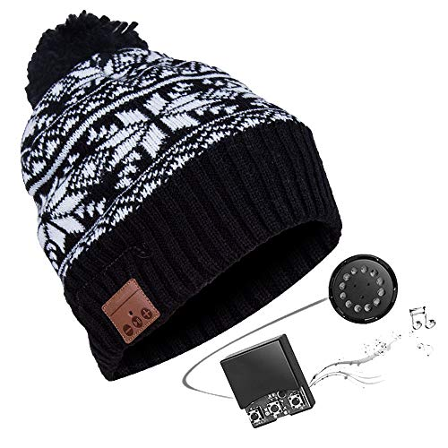 Price comparison product image Zibaar Bluetooth Beanie Hat with V4.2 Bluetooth Stereo Speakers Bluetooth Beanie Bluetooth Hat Over 5 Hours Running Time at Max Volume Polar Fleece Beanie Headphone Unisex Black with Pompom