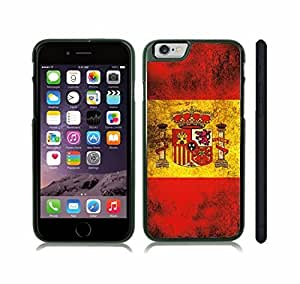 iStar Cases? iPhone 6 Plus Case with Spain Flag Distressed Grunge Look Design , Snap-on Cover, Hard Carrying Case (Black)