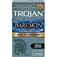 Trojan Sensitivity Bareskin Lubricated, Latex Condoms, 10-count