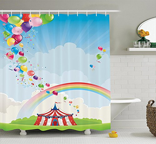 [Circus Decor Shower Curtain Set Circus Rainbow And Balloons Freedom Traveling Cloudscape Festival Bathroom] (Traveling Circus Costume)