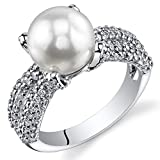 4 Prong Freshwater Cultured White Pearl Ring (8.5-9mm) Sterling Silver CZ Accent Sizes 5 to 9