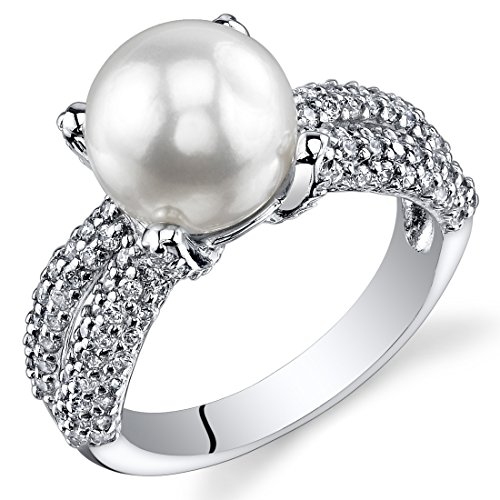 9mm Cultured Pearl Ring (4 Prong Freshwater Cultured White Pearl Ring (8.5-9mm) Sterling Silver CZ Accent Size 7)