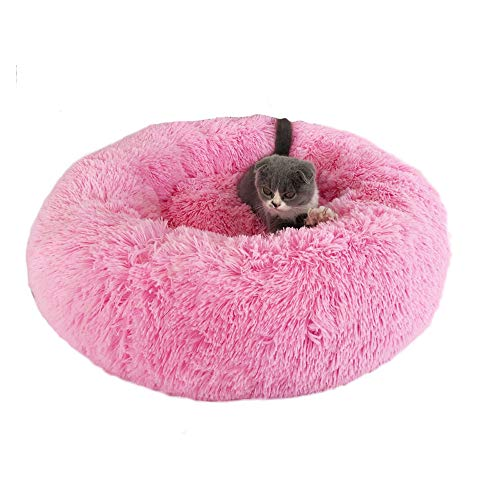 (FATHER.SON Shaggy Faux Fur Donut Cuddler Round Warm Plush Indoor Cat House Nest Dog Bed for Medium Dogs Machine Washable Water-Resistant)