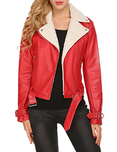 Zeagoo Women's Lapel Long Sleeve Shearling Faux Leather Zip up Belted Motorcycle Coat Jackets,Large,Wine Red (Leather Belted Motorcycle Jacket)