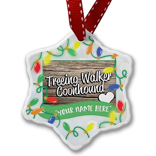 NEONBLOND Personalized Name Christmas Ornament, Treeing Walker Coonhound, Dog Breed United States - Breed Coonhound Dog
