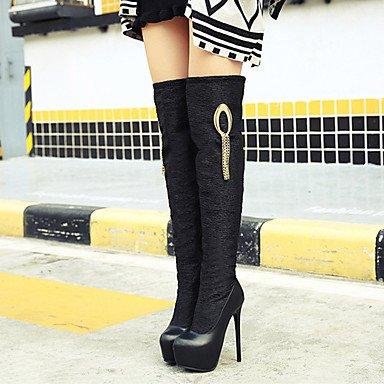 la Tacón Boda Otoño Primavera Heart Cremallera Pump Stiletto Básico amp;M Mujer Confort Botas Zapatos Innovador Sobre Invierno Rodilla Semicuero Para wZ7Hw