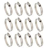 "ABN Hose Clamp 12-Pack, 1-3/4"" Inch, Zinc Plated, 21-44mm Range – For Plumbing, Automotive, and Mechanical Applications"