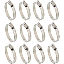 """ABN Hose Clamp 12-Pack, 2"""" Inch, Zinc Plated, 32-51mm Range – For Plumbing, Automotive, and Mechanical Applications"""